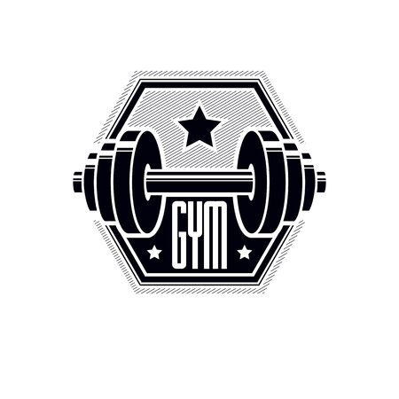 Gym weightlifting and fitness sport club design, retro stylized vector emblem or badge. With barbell. Ilustração
