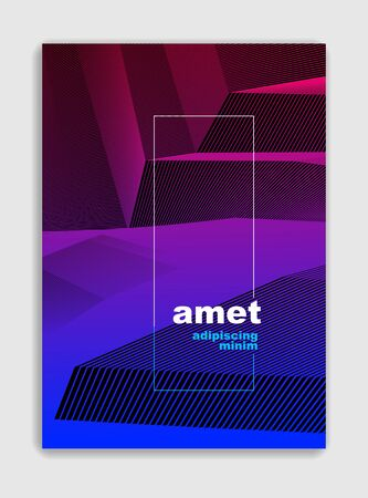 Abstract line art vector minimal contemporary brochure design, cover template, geometric halftone gradient. For Banners, Placards, Posters, Flyers. Beautiful and special, pattern texture. Ilustração