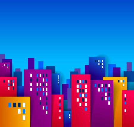 City houses buildings paper cut cartoon kids game style vector illustration, modern minimal design of cute cityscape, urban life.