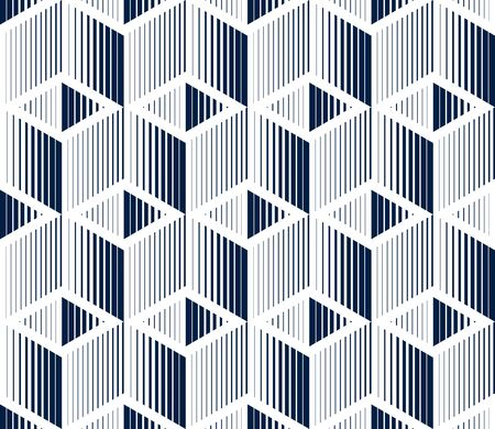 3D cubes seamless pattern vector background, lined dimensional blocks, architecture and construction, geometric design. 向量圖像