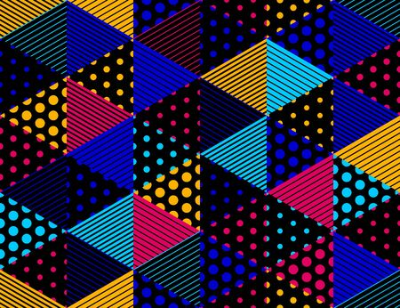 3D dotted cubes seamless pattern vector background, dots and lines dimensional blocks, architecture and construction, geometric design. 向量圖像