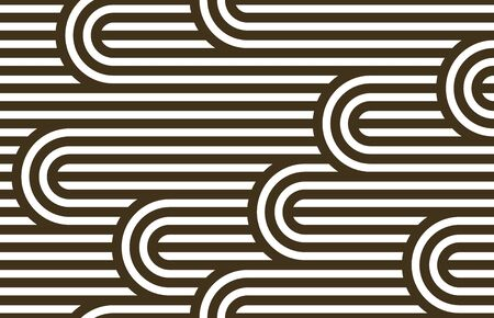 Seamless pattern with twisted lines, vector linear tiling background, stripy weaving, optical maze, twisted stripes. Ilustração
