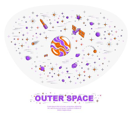 Fantastic galaxy with unknown weird undiscovered planets with stars and other elements. Explore universe, breathtaking science fiction. Thin line 3d vector illustration isolated.