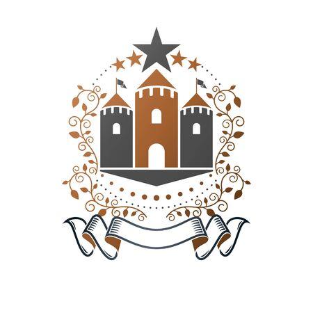 Ancient Castle emblem. Heraldic Coat of Arms decorative design isolated vector illustration. Retro design in old style on white background. Ilustração