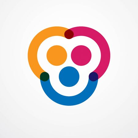 Teamwork and friendship concept created with simple geometric elements as a people crew. Vector icon or design. Unity and collaboration idea, dream team of business people colorful design.