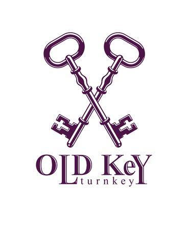 Crossed keys, vintage antique turnkeys vector design or emblem, protected secret, electronic data protection, keys to heaven, hotel label, keep secret.