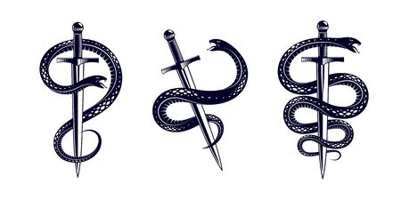 Snake and Dagger, Serpent wraps around a sword vector vintage tattoo, Roman god Mercury, luck and trickery, allegorical design or emblem of ancient symbol.