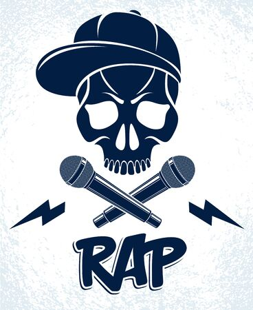 Hip Hop music vector or label with wicked skull and two microphones crossed like crossbones, Rap rhymes night club party festival or concert emblem, t-shirt print.