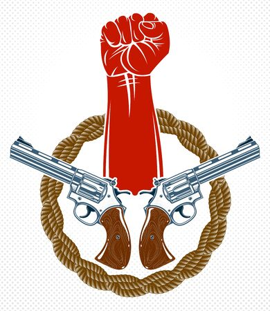 Anarchy and Chaos aggressive emblem or design with strong clenched fist, vector vintage style tattoo, rebel rioter partisan and revolutionary.