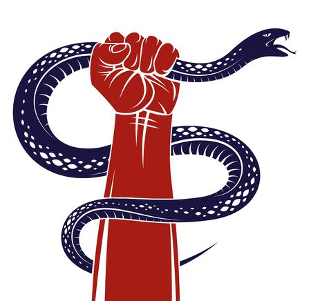 Hand squeezes a snake, fight against evil, control your dark side, internal conflict, archetype shadow, life is a fight concept, vintage vector design or tattoo.
