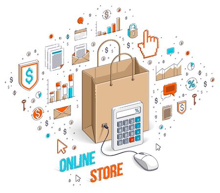Online Shop concept, web store, internet sales, Shopping bag with pc mouse connected isolated on white. 3d vector business isometric illustration with icons, stats charts and design elements. Ilustração