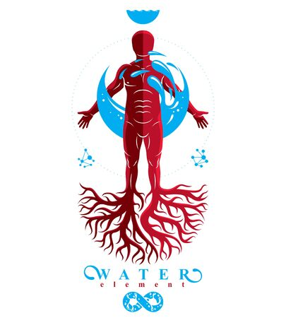 Vector graphic illustration of muscular human, individual created with tree roots and surrounded by a water ball. Human water reserves metaphor.