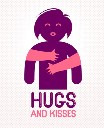 Hugs and kisses with loving hands of beloved person and kissing lips, lover woman hugging her mate and shares love