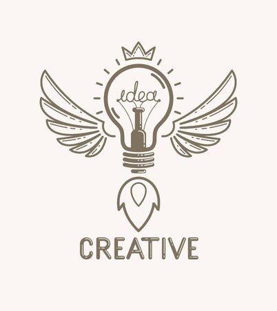 Idea light bulb with wings launching like a rocket vector Ilustração