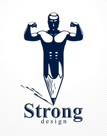Strongman muscle man combined with pencil into a symbol, strong design concept, creative power allegory