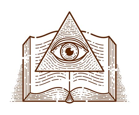 Secret knowledge vintage open book with all seeing eye of god in sacred geometry triangle, insight and enlightenment, masonry or illuminati symbol