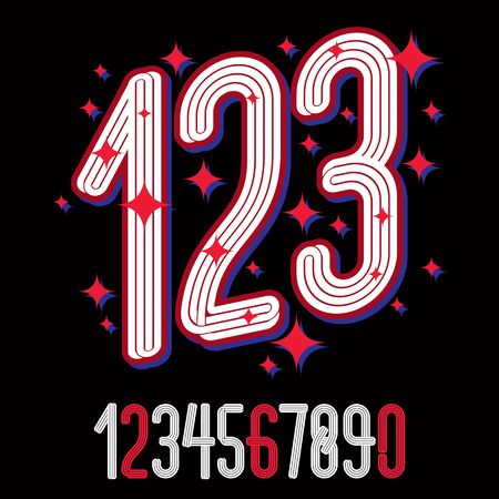 Funky tall condensed numbers collection, vector numeration made with parallel lines. For use as retro poster design elements for fun club or concert advertising. Banco de Imagens - 129636552