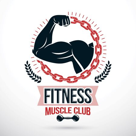 Vector graphic composition created as strong muscular arm of athlete placed in a round iron chain frame. Bodybuilding championship symbol