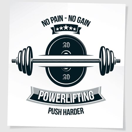 Bodybuilding motivation poster composed with barbell sport equipment and other graphic vector elements. No pain, no gain lettering.
