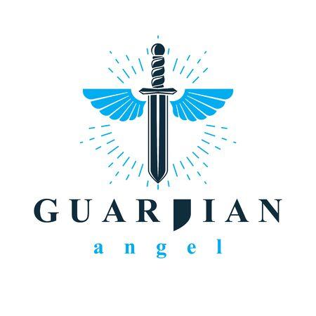 Illustration graphique vectorielle d'épée composée d'ailes d'oiseaux, symbole de métaphore de la guerre et de la liberté. Emblème abstrait de vecteur ange gardien.