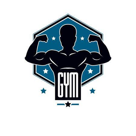 Gimnasio de levantamiento de pesas y club deportivo de fitness, emblema de vector de estilo vintage. Con silueta de deportista.