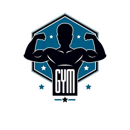 Gym weightlifting and fitness sport club, vintage style vector emblem. With sportsman silhouette.