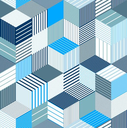 Seamless cubes vector background, lined boxes repeating tile pattern, 3D architecture and construction, geometric design. 向量圖像