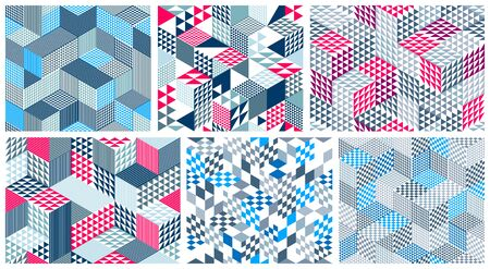 Geometric 3D seamless patterns with cubes, rhombus and triangles boxes blocks vector backgrounds set, architecture and construction, wallpaper designs.