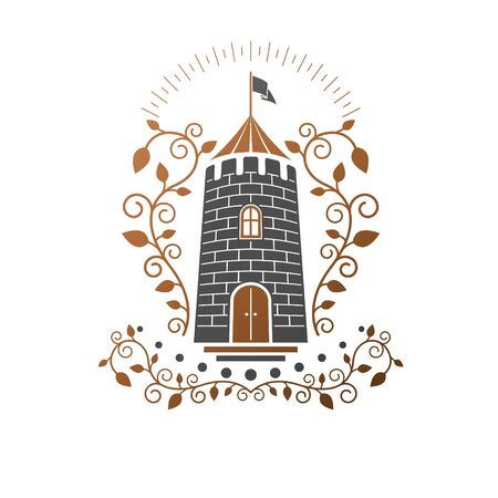 Ancient Citadel emblem. Heraldic vector design element.