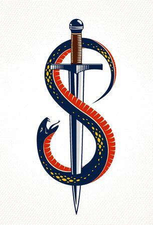 Dolch tötet eine Schlange, besiegte Schlange wickelt sich um ein Schwertvektor-Vintage-Tattoo
