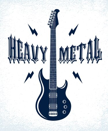 Heavy Metal emblem with electric guitar vector
