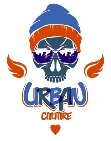 Urban culture style skull in sunglasses vector Illustration