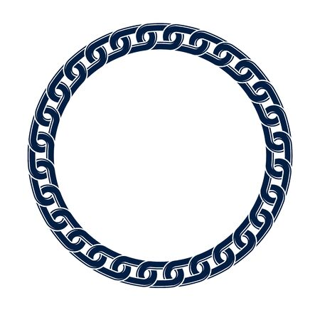 Round frame from chain, vector design element, circle shape border.