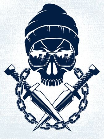 Anarchy and Chaos aggressive emblem with wicked skull, vector vintage scull tattoo, rebel gangster criminal and revolutionary.
