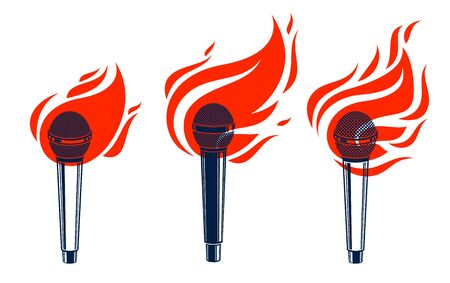 Microphone on fire, hot mic in flames, rap battle rhymes music, karaoke singing or standup comedy
