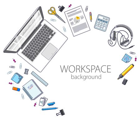 Office employee or entrepreneur work desk workplace with PC computer and diverse stationery objects for work with copy space for text.