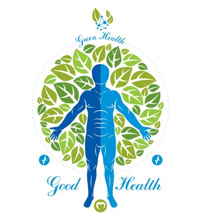 Vector illustration of human, athlete surrounded by green tree leaves and composed with wireframe mesh symbol. Individual as the link between nature and scientific achievements. Imagens - 129637337