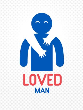 Beloved man with care hands of a lover woman hugging and caresses his shoulders, vector icon or illustration in simplistic symbolic style. Archivio Fotografico - 129637360