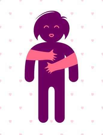 Beloved woman with care hands of a lover or friend hugging her around from behind, vector icon or illustration in simplistic symbolic style.