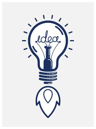 Idea light bulb launching like a rocket vector linear or icon, creative idea startup, science invention or research lightbulb, new business start.