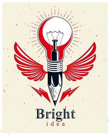 Pencil with idea light bulb combined into symbol with wings, creative energy design art or science invention or research vector