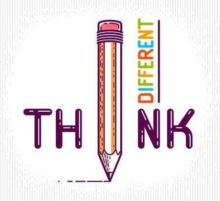 Think different word with pencil instead of letter I, ideas and brainstorm concept, vector conceptual creative or poster made with special font.