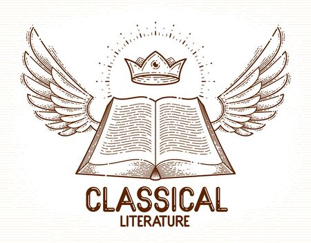 Vintage open book with wings vector graphic design element, literature and reading theme