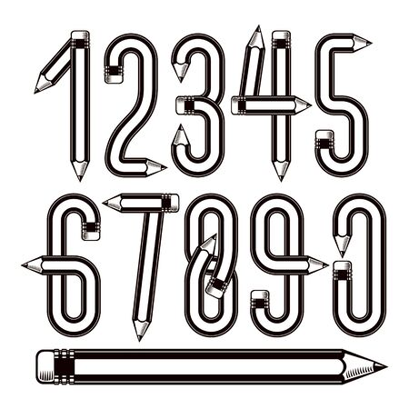 Vector modern numbers collection made with pencils, creative writing idea, best for use in logotype design for drawing art class.