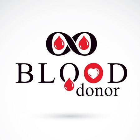 Blood donor inscription isolated on white and made using vector red blood drops, heart shape and limitless symbol.