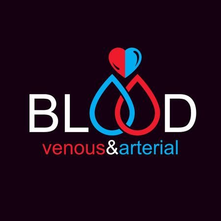 Arterial and venous blood, blood circulation conceptual vector illustration.
