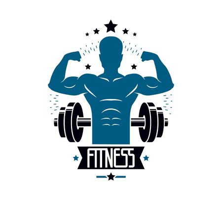 Bodybuilding weightlifting gym logotype sport template, retro stylized vector emblem or badge. With bodybuilder silhouette.  イラスト・ベクター素材
