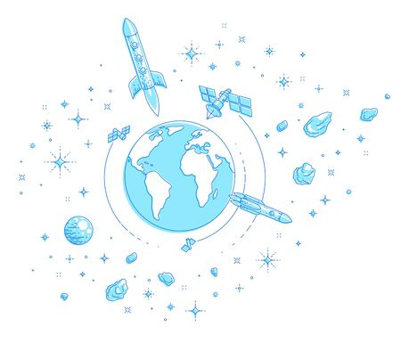 Planet Earth in space surrounded by artificial satellites, rockets and stars. Global communication technology theme. Thin line 3d vector illustration isolated on white.