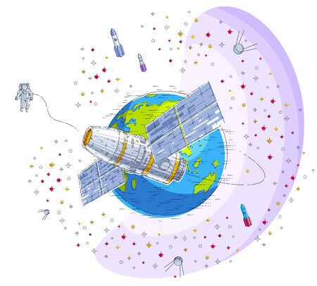 Space station flying orbital flight around earth, spacecraft spaceship iss with solar panels, artificial satellite, with rockets, stars and other elements. Thin line 3d vector illustration.