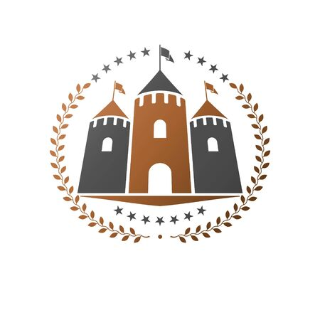 Ancient Castle emblem. Heraldic Coat of Arms Иллюстрация